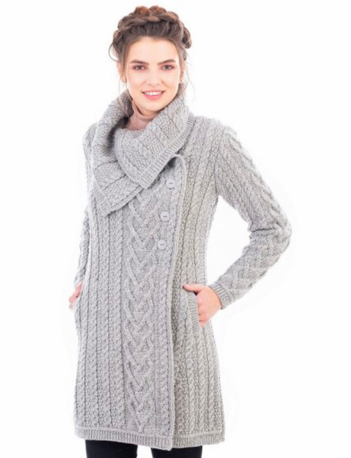 Classic Aran Cable Sweater Coat In Grey