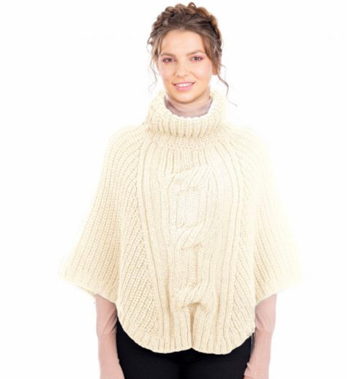 Cable Cowlneck Poncho In Natural