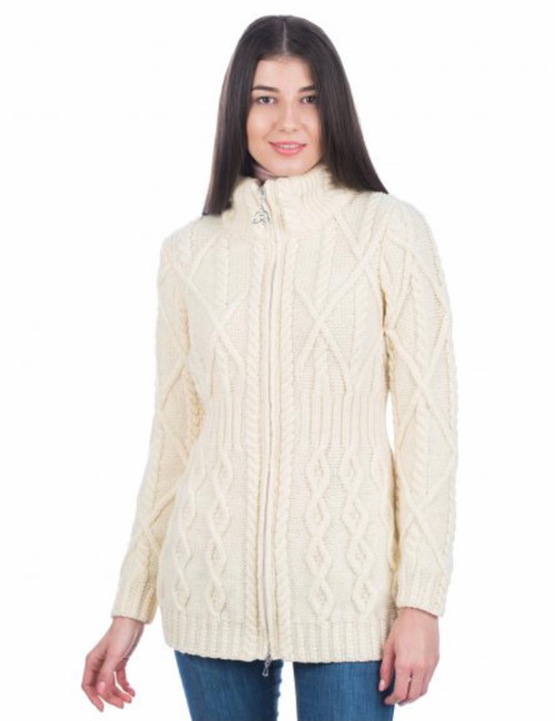 Cable Cardigan With Zipper In Natural