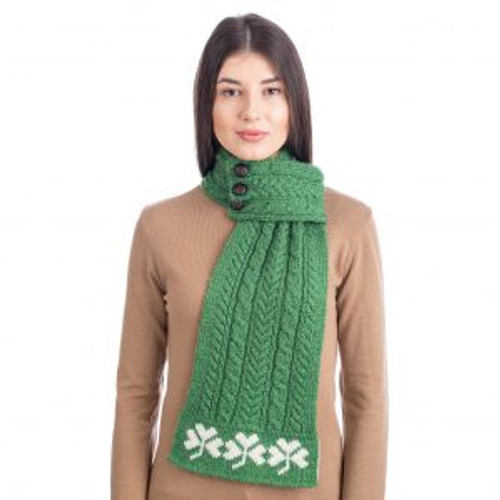Aran Loop Scarf featuring Shamrock Pattern in Green