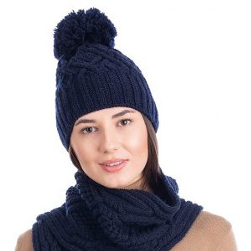 Aran Wool Bobble Hat In Navy