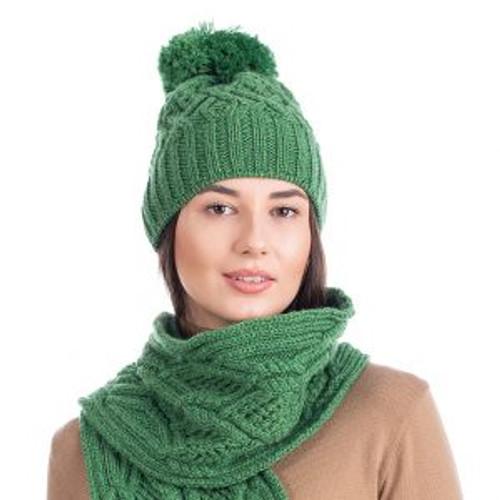 Aran Wool Bobble Hat In Green
