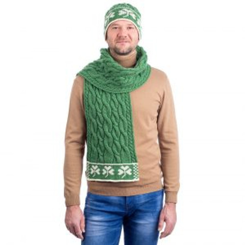 Three Shamrock Merino Wool Scarf In Green