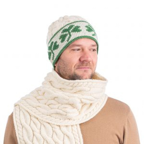 Cable Knit Shamrock Merino Wool Hat In Natural