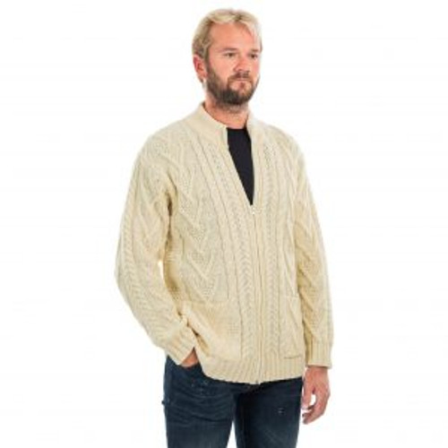 Mens Zipper Cardigan in Natural