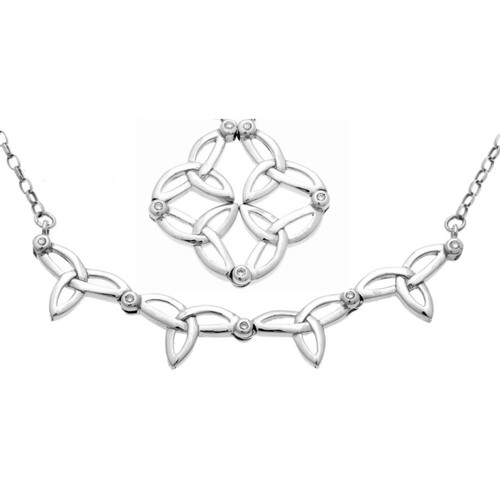 CELTIC SYNERGY 2-IN-1 NECKLACE in Sterling Silver and Diamond by Keith Jack PNS3414