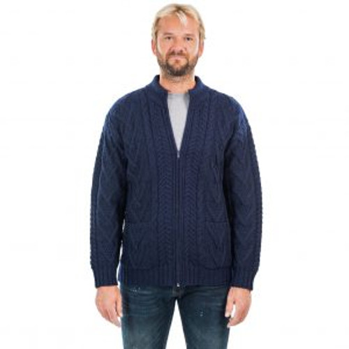 Mens Zipper Cardigan in Navy