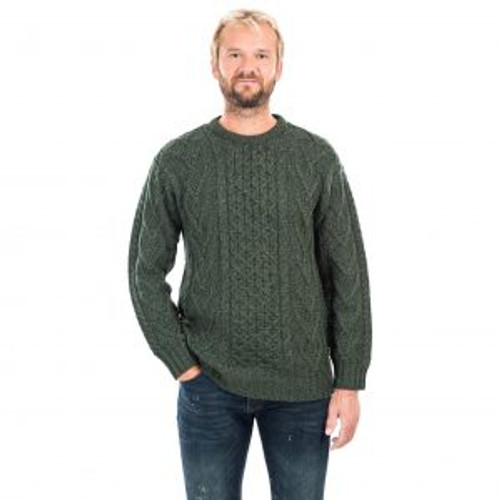 Mens Merino Aran Sweater In Dark Green