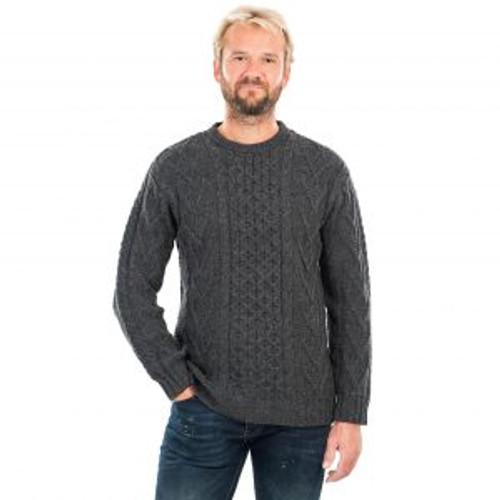 Mens Merino Aran Sweater In Charcoal