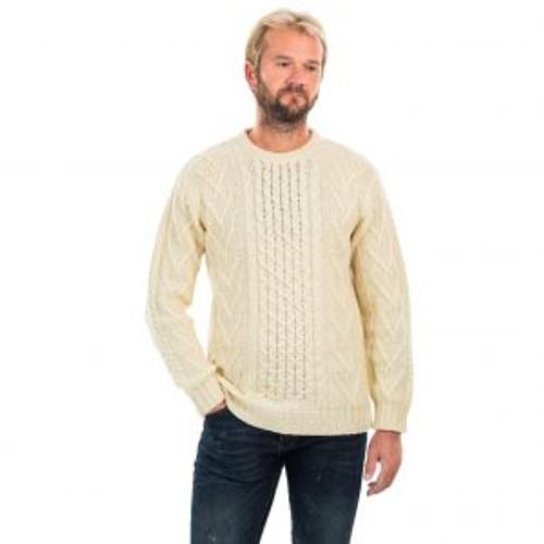 Mens Merino Aran Sweater In Natural