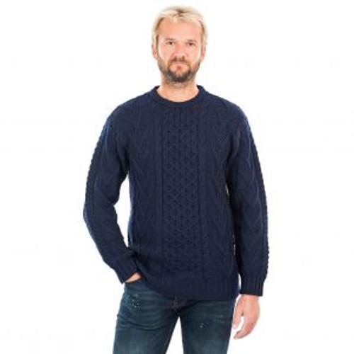 Mens Merino Aran Sweater In Navy