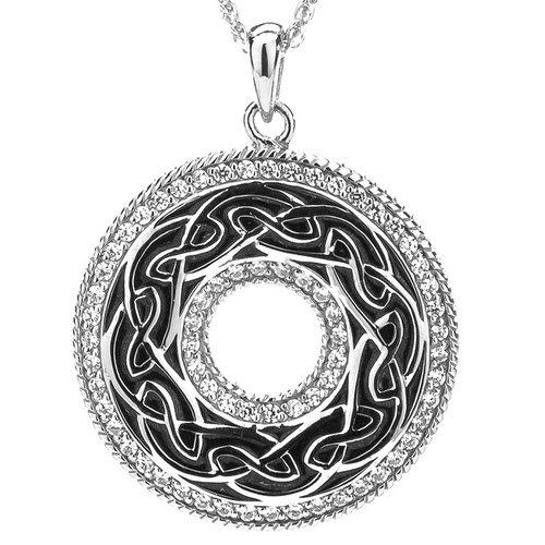 S/sil Grey Enamel CZ Window to the Soul Pendant By Keith Jack PPE6247-BL