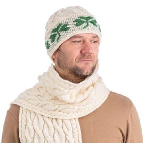 Shamrock Knit Merino Wool Hat In Natural
