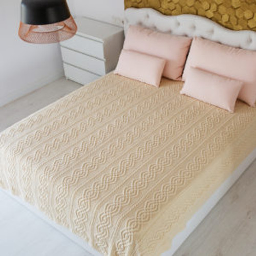 King Size Irish Cable Knit Throw