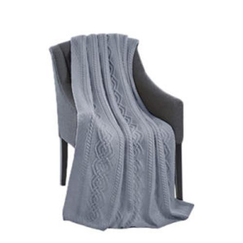 Dara Merino Wool Aran Throw In Grey