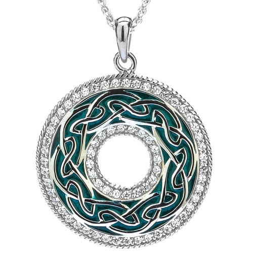 S/sil Green Enamel CZ Window to the Soul Pendant By Keith Jack PPE6247-GR