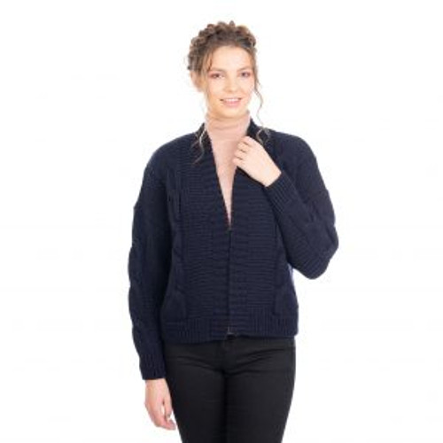 Ladies Cable Cardigan Wrap In Navy