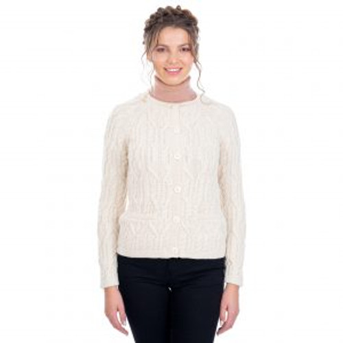Ladies Button Cardigan Sweater In Natural
