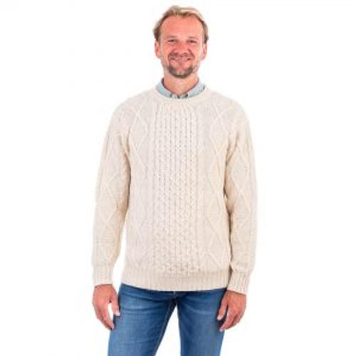 Men's Crew Neck Aran Sweater in Natural