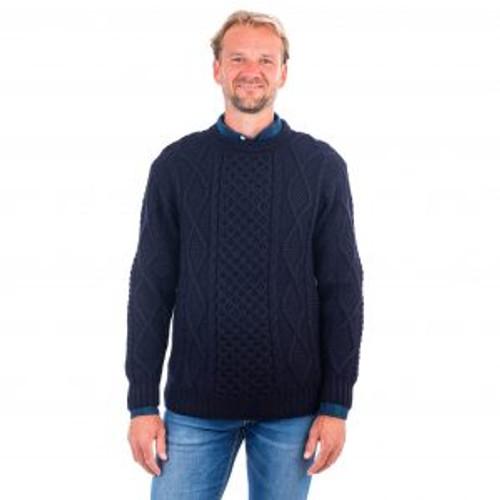 Men's Crew Neck Aran Sweater in Navy