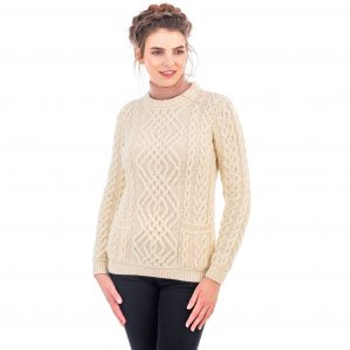 Ladies Cable Knit Crew Sweater With Pockets In Natural