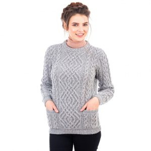 Ladies Cable Knit Crew Sweater With Pockets In Grey
