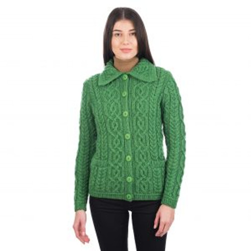 Ladies Button Knit Cardigan In Green