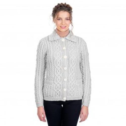 Ladies Button Knit Cardigan In Grey