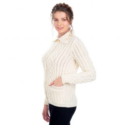 Ladies Button Knit Cardigan In Natural