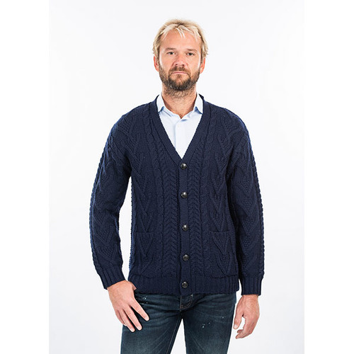 Mens V Neck Cable Cardigan in Navy