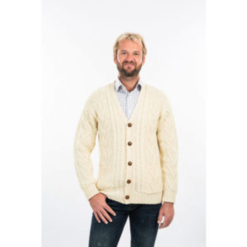 Mens V Neck Cable Cardigan in Natural