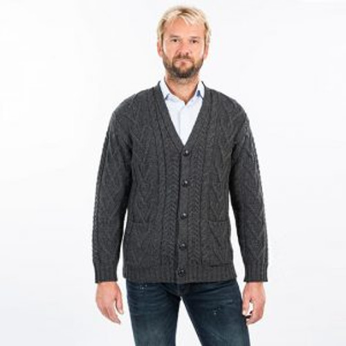 Mens V Neck Cable Cardigan in Charcoal
