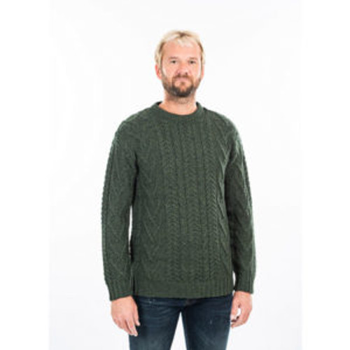 Mens Traditional Aran Crew Neck Sweater in Green