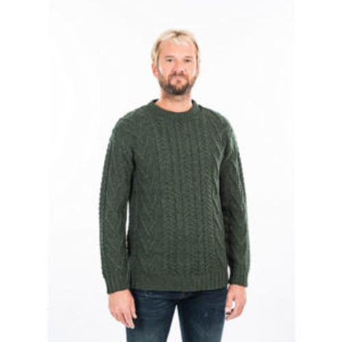Mens Traditional Aran Crew Neck Sweater in Dark Green