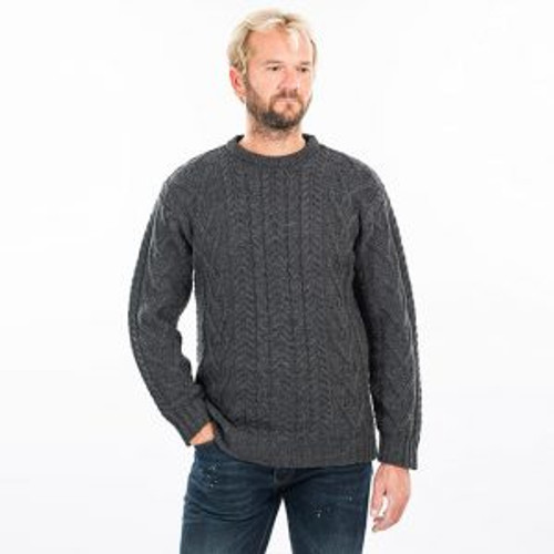 Mens Traditional Aran Crew Neck Sweater in Charcoal