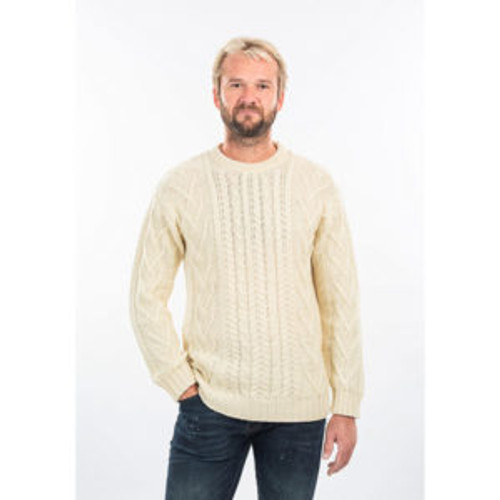 Mens Traditional Aran Crew Neck Sweater in Natural