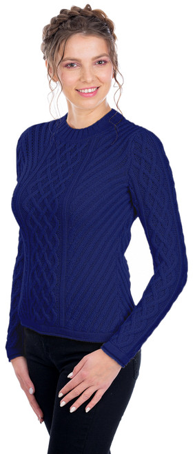Ladies Aran Tunic Sweater In Navy