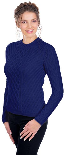 Ladies Aran Tunic Sweater In Navy