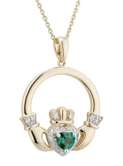 14k Gold, Diamond & Synthetic Emerald Claddagh Pendant