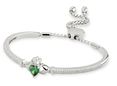 Sterling Silver & Cubic Zirconia Claddagh Draw String Bangle