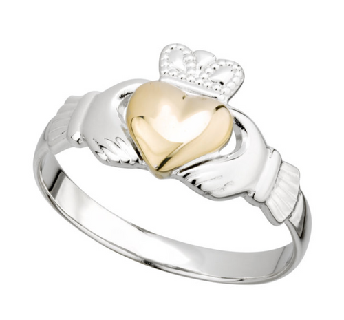 Sterling Silver & 10k Gold Heart Ladies Claddagh