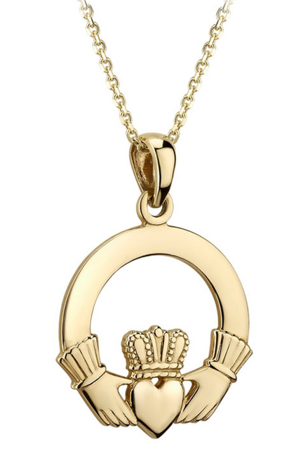 14k Claddagh Pendant Medium Heavy