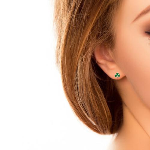 Silver Small Enamel Shamrock Stud Earrings