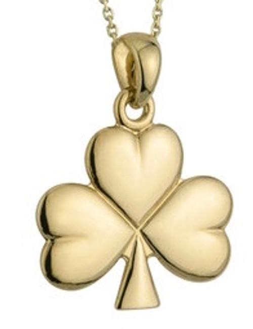 14K Gold Medium Shiny Shamrock Pendant
