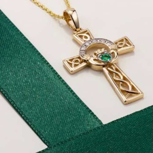 14K Gold Diamond and Emerald Celtic Cross Pendant