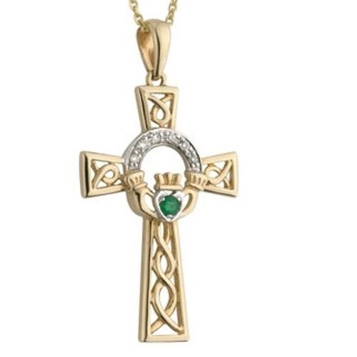 14k Gold Diamond and Emerald Celtic Cross Pendant S44515