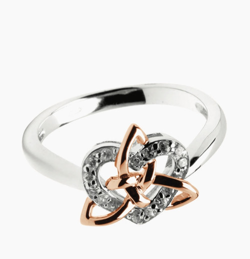 Sterling Silver with Rose Gold Plating Celtic Trinity Knot & Heart Stone Set Ring Sister Knot