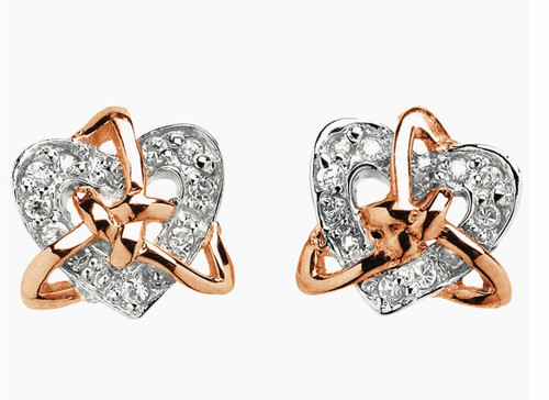 Sterling Silver with Rose Gold Plating Celtic Trinity Knot & Heart Stone Set Earrings Sister Knot