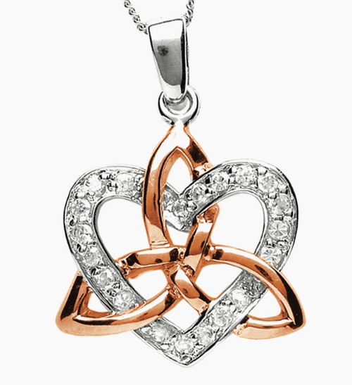 Sterling Silver with Rose Gold Plating Celtic Trinity Knot & Heart Stone Set Pendant Sister Knot
