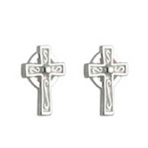 KIDS STERLING SILVER CELTIC CROSS STUD EARRINGS